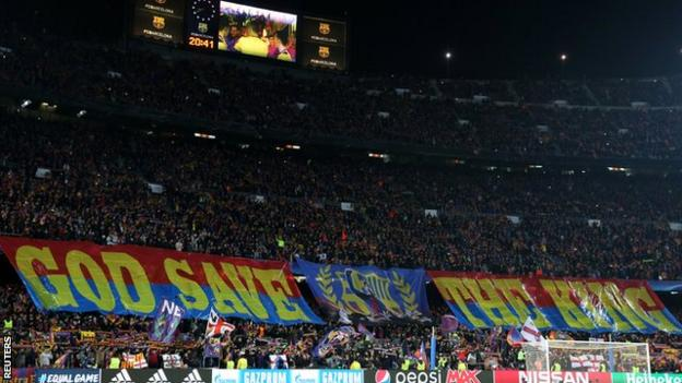 Barcelona fans showed off a huge banner before kick-off in tribute to Lionel Messi