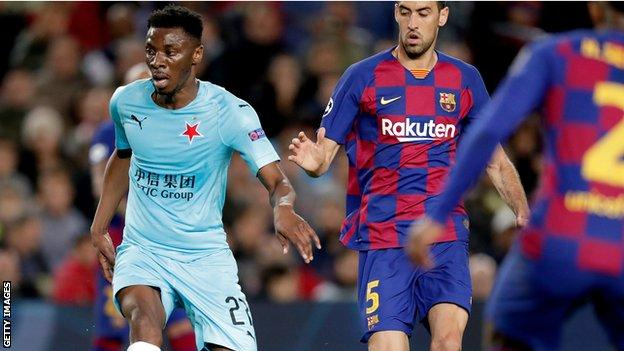 Ivorian Ibrahim Traore in action for Slavia Prague against Barcelona