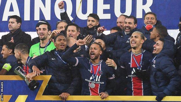 PSG celebrate with trophy
