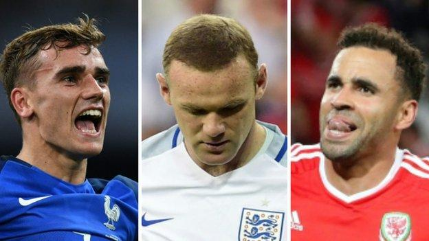 It has been a tournament of contrasting fortunes for France's Antoine Griezmann, England's Wayne Rooney and Jamie Vardy, and Wales' Hal Robson-Kanu