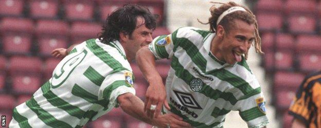 Darren Jackson helps celebrate Henrik Larsson's first goal for Celtic