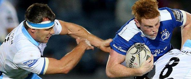 Leinster's Cathal Marsh attempts to find away through the Glasgow defence
