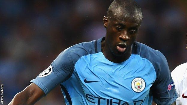 Yaya Toure playing for Manchester City this season
