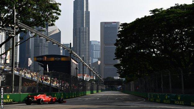 Ferrari's Kimi Raikkonen on the Marina Bay Street Circuit