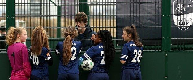 Sandwell Academy receive some instructions during the under-16 girls competition in Manchester