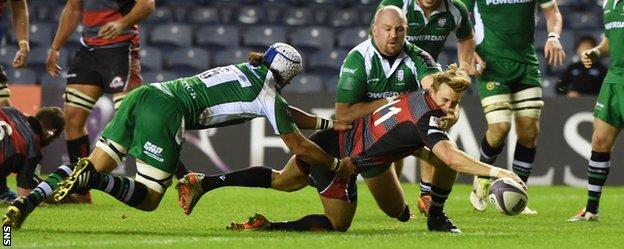 Tom Brown crosses the line for Edinburgh's opening try