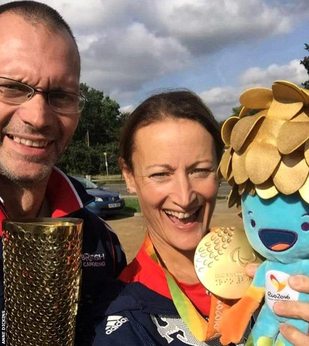Phil Gunney with his wife Claire's London 2012 Olympic torch and Anne Dickins with her Rio 2016 Paralympics gold medal and mascot