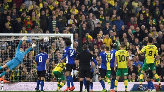 Mario Vrancic scores Norwich's equaliser against Norwich