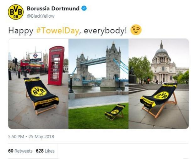 Borussia Dortmund celebrate Towel Day by posting pictures of a Dortmund towel at several iconic London landmarks