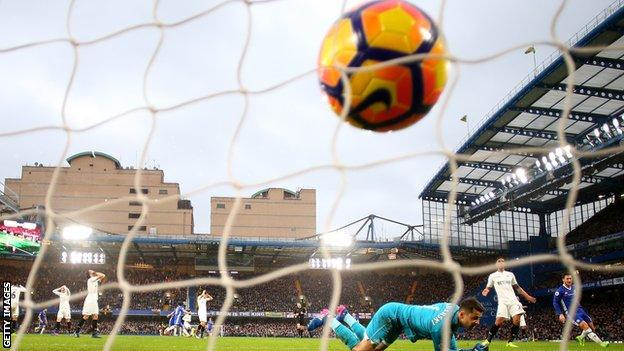 Pedro scores Chelsea's second goal against Swansea