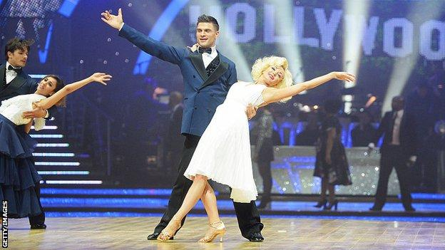 Helen George and Aljaz Skorjanec perform on Strictly Come Dancing