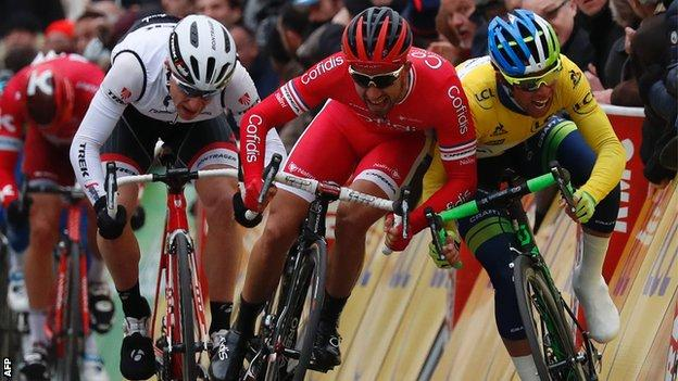 Nacer Bouhanni and Michael Matthews clash at the end of the second stage of Paris-Nice