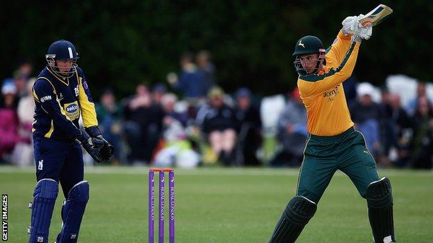 Alex Hales in action for Nottinghamshire against Warwickshire