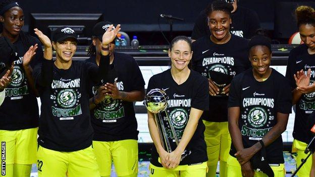 The Seattle Storm celebrate winning the WNBA Finals for a fourth time