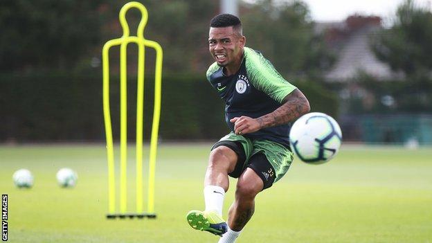 Gabriel Jesus in action in Manchester City training