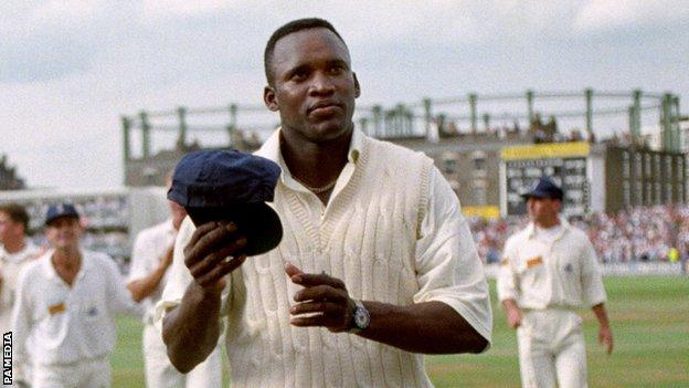 England fast bowler Devon Malcolm acknowledges the crowd after taking 9-57 against South Africa at The Oval in 1994