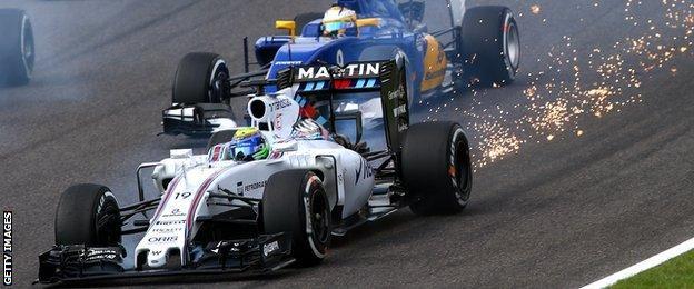 Massa's car sparks