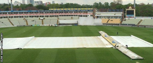 The covers were on at Edgbaston from mid-afternoon onwards