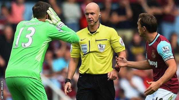 West Ham goalkeeper Adrian is sent off against Leicester