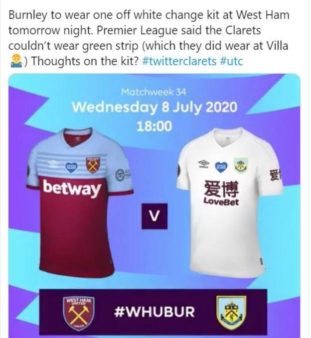 Man united news  football news  football transfer and rumours Tweet showing West Ham and Burnley kits