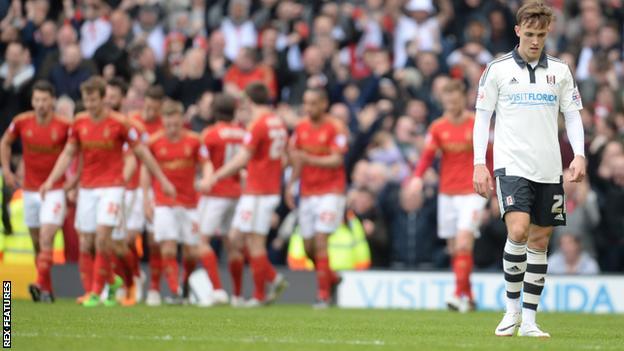 Nottingham Forest celebrate scoring against Fulham