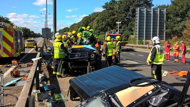 Pape Souare had to be freed from his vehicle by firefighters following the crash