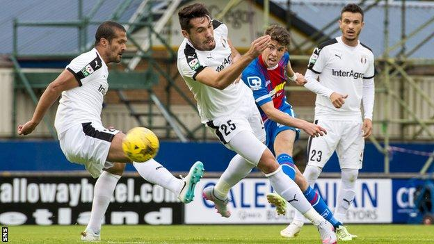 Ryan Christie has a shot for Inverness Caledonian Thistle against Astra Giurgiu
