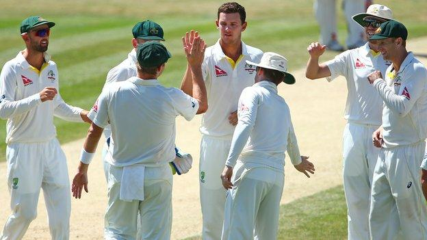 Josh Hazlewood celebrates one of his four wickets on the final day at Chelmsford