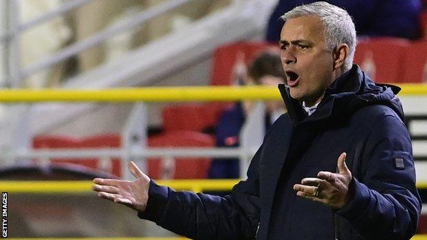 Tottenham manager Jose Mourinho against Royal Antwerp in the Europa League