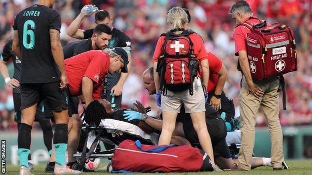 Yasser Larouci pictured on a stretcher