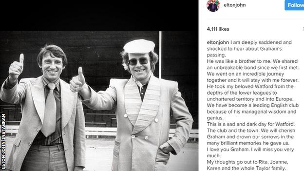 Elton John Instagram message