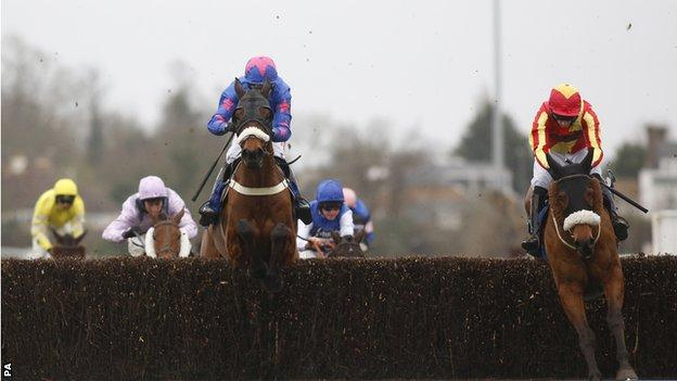 Pilgrims Bay clears the last fence in the BetBright Chase