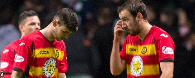 Partick Thistle players show their disappointment