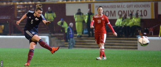 Jo Love scores for Scotland women against Belarus