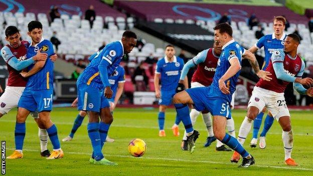 Lewis Dunk scores for Brighton against West Ham
