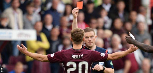 Gavin Reilly is sent off