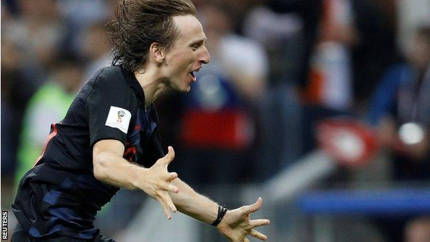 Luka Modric celebrates Croatia's semi-final win against England