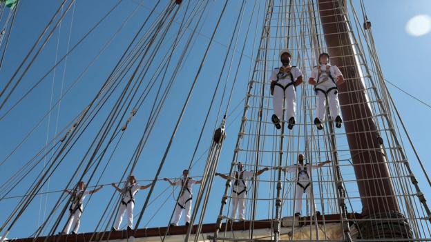 School ships from seven countries participate in a 157-day regatta