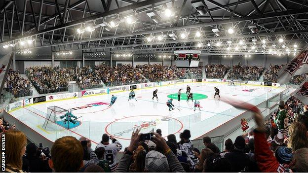 Artists impression of Ice Arena Wales