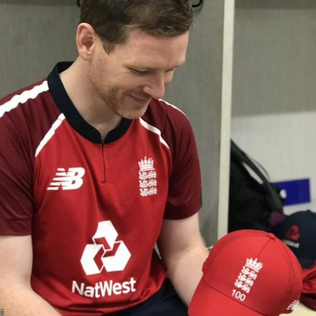 Eoin Morgan and his 100th T20 cap for England