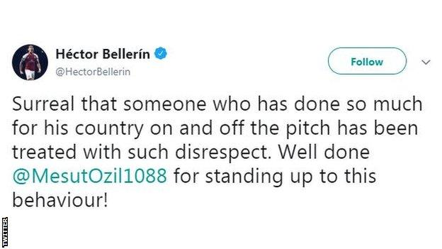 Hector Bellerin says his Arsenal teammate has been treated with disrespect on Twitter