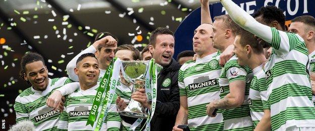 Ronny Deila and Celtic celebrate last season's League Cup win