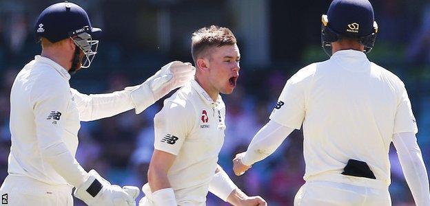 Mason Crane celebrates his first Test wicket
