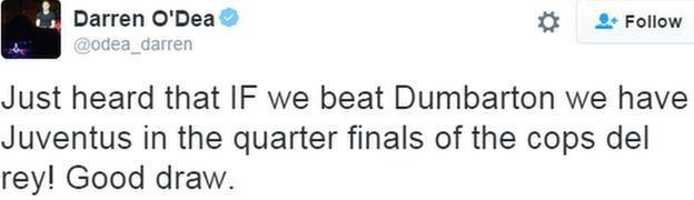 Tweet from Dundee defender Darren O'Dea