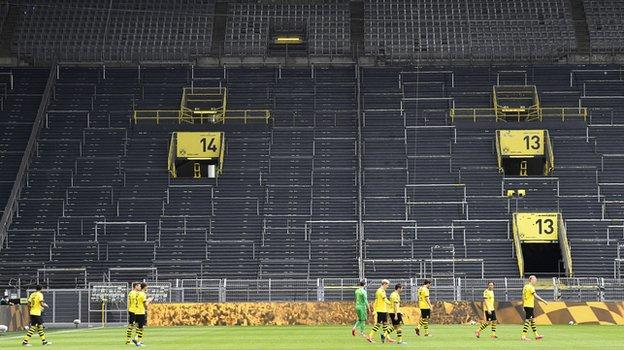 Dortmund's famous 'Yellow Wall' was completely empty of fans