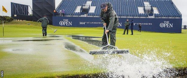 Water being cleared from the Old Course at St Andrews