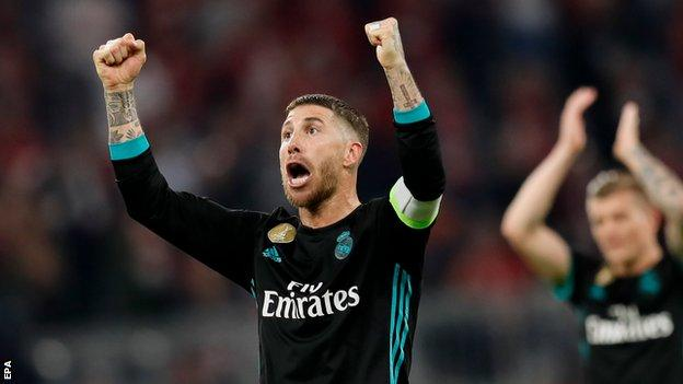 Sergio Ramos celebrates at full-time