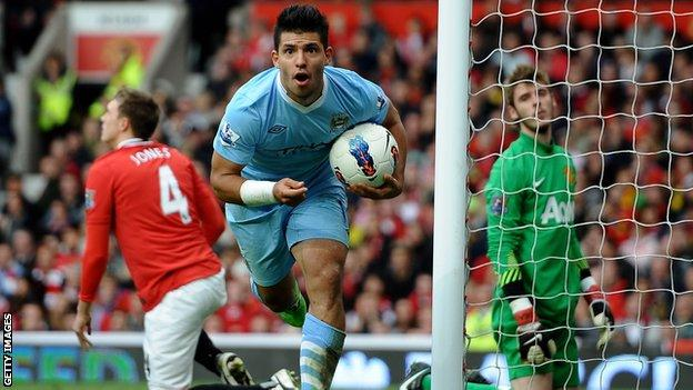 Sergio Aguero scores for Manchester City against Manchester United in 2011