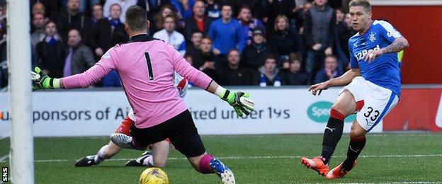 Martyn Waghorn scores Rangers' third goal of the evening