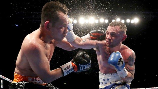 Nonito Donaire and Carl Frampton exchange blows during their contest in Belfast six months ago
